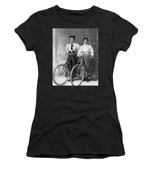 Two Young Ladies With Their Bicycles Circa 1895 Women's T-Shirt (Athletic Fit)