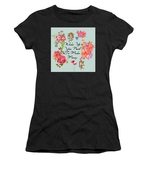 Typography Flowers  Women's T-Shirt