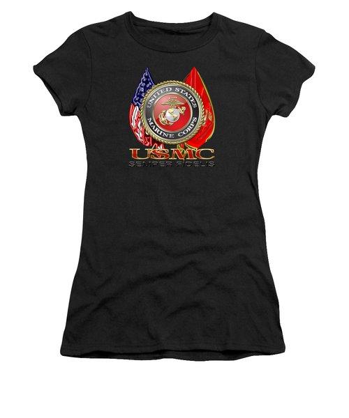 U. S. Marine Corps U S M C Emblem On Black Women's T-Shirt (Athletic Fit)