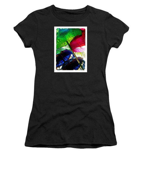 Women's T-Shirt (Junior Cut) featuring the photograph Umbrellas Colorful by Linda Olsen