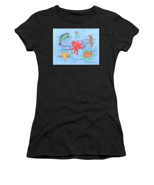 Under The Sea, Red Octopus Women's T-Shirt (Athletic Fit)