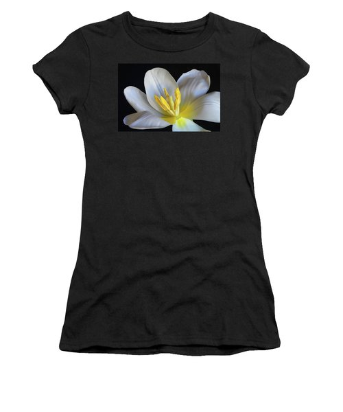 Women's T-Shirt (Junior Cut) featuring the photograph Unfolding Tulip. by Terence Davis