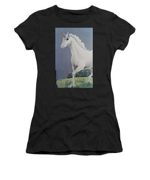 Unicorn Roaming The Grass And Flowers Women's T-Shirt (Athletic Fit)