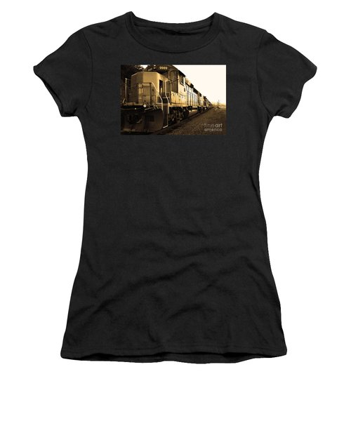 Union Pacific Locomotive Trains . 7d10588 . Sepia Women's T-Shirt