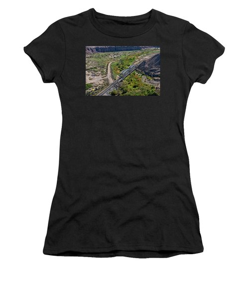 Women's T-Shirt featuring the photograph Up Tracks Cross The Mojave River by Jim Thompson