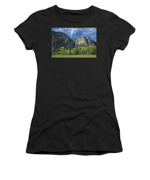 Upper Yosemite Falls In Spring Women's T-Shirt (Athletic Fit)