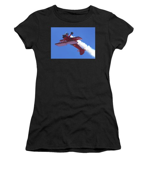 Women's T-Shirt featuring the photograph Upside-down Vicky Benzing by John King