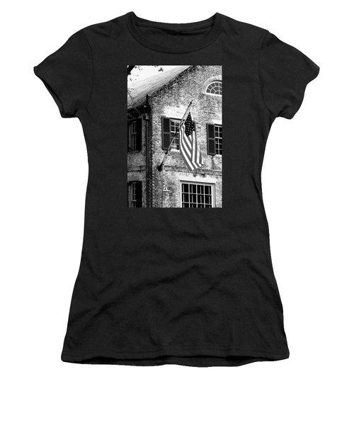 Us Flag In Colonial Williamsbug Women's T-Shirt (Junior Cut) by Emanuel Tanjala