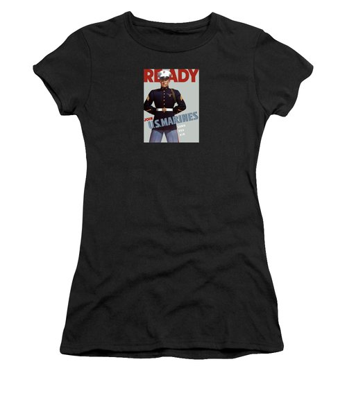 Us Marines - Ready Women's T-Shirt (Junior Cut) by War Is Hell Store