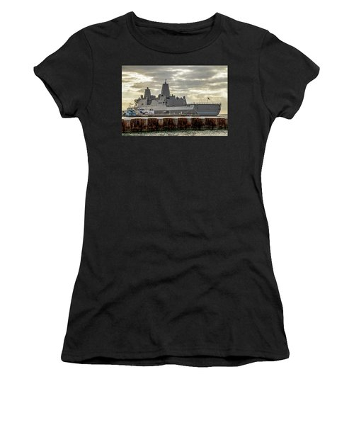 Women's T-Shirt (Athletic Fit) featuring the photograph Uss Portland From The Port Side by Bob Slitzan