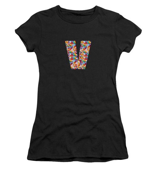 V Vv Vvv Jewels Alpha Art On Shirts Alphabets Initials   Shirts Jersey T-shirts V-neck   Navinjoshi  Women's T-Shirt