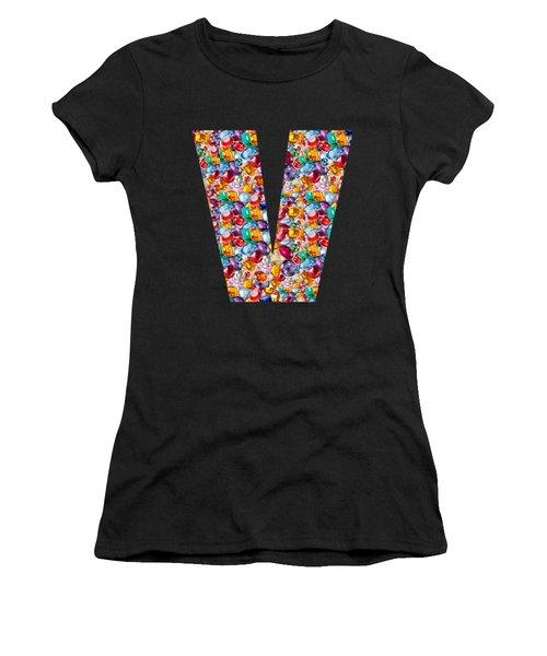 V Vv Vvv Jewels Alpha Art On Shirts Alphabets Initials   Shirts Jersey T-shirts V-neck   Navinjoshi  Women's T-Shirt (Athletic Fit)