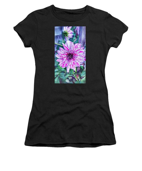 Variegated Dahlia In Oil Women's T-Shirt (Athletic Fit)