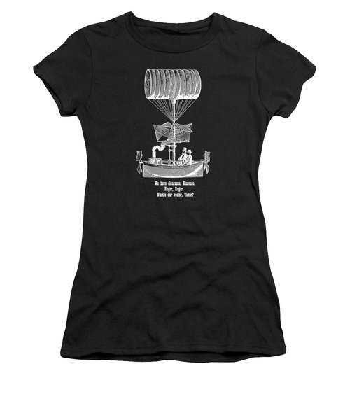 Vector Victor Vintage Airship White Transparent Women's T-Shirt (Junior Cut) by Barbara St Jean