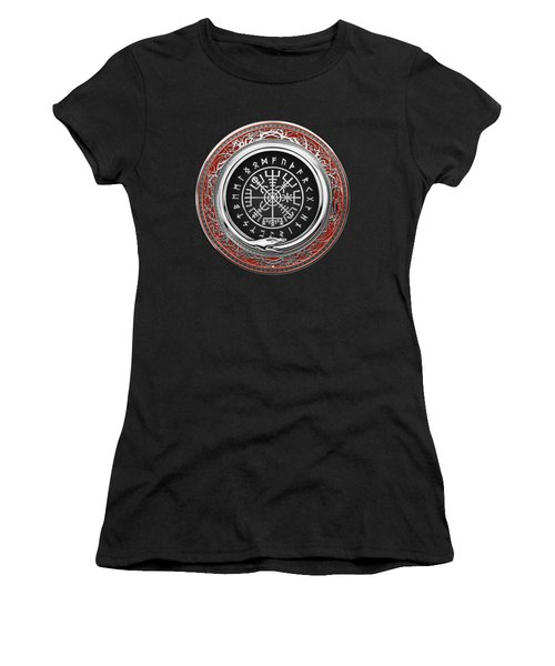 Vegvisir - A Silver Magic Viking Runic Compass On Red Leather  Women's T-Shirt