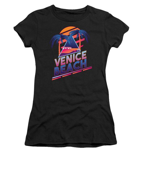 Venice Beach 80's Style Women's T-Shirt (Junior Cut) by Alek Cummings