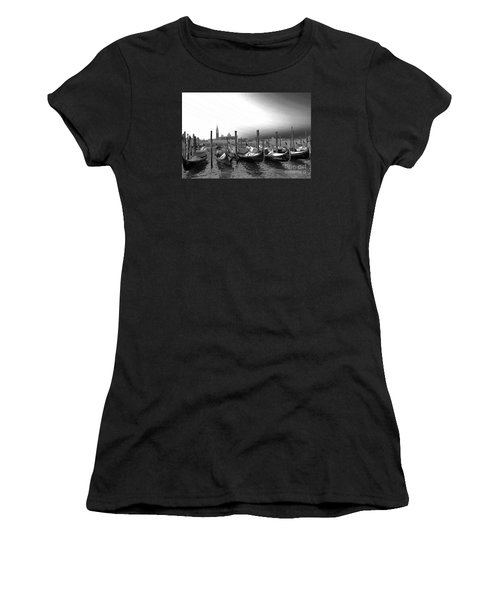 Women's T-Shirt (Junior Cut) featuring the photograph Venice Gondolas Black And White by Rebecca Margraf