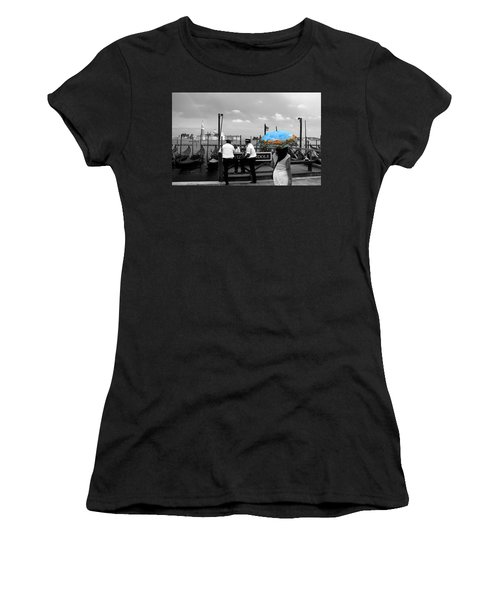Women's T-Shirt (Junior Cut) featuring the photograph Venice Umbrella by Andrew Fare