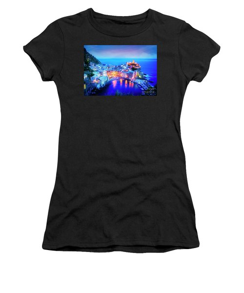 Women's T-Shirt featuring the photograph Vernazza At Dusk by Scott Kemper
