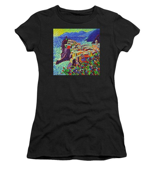 Vernazza Cinque Terre Italy 2 Modern Impressionist Palette Knife Oil Painting By Ana Maria Edulescu  Women's T-Shirt