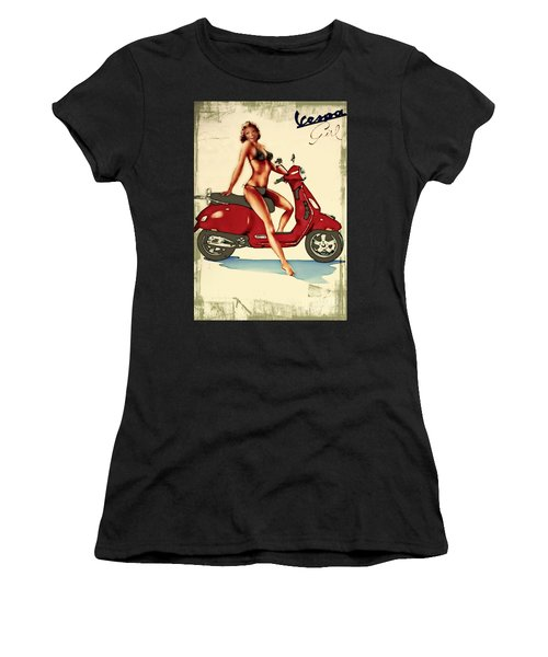 Vespa Girl - Vintage Poster Women's T-Shirt (Athletic Fit)