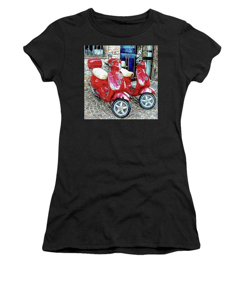 Vespa Twins Red Women's T-Shirt (Athletic Fit)