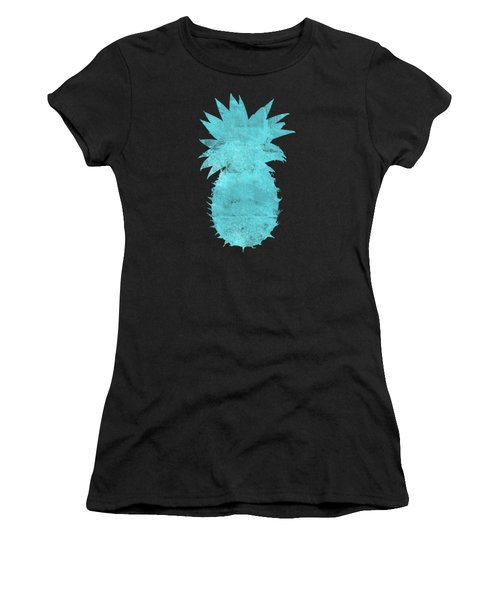 Vibrant Blue Tropical Pineapple Beach House Coastal Art Women's T-Shirt (Athletic Fit)