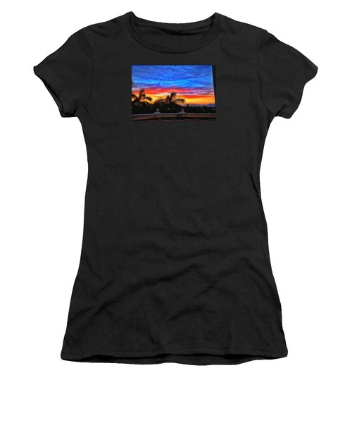 Women's T-Shirt (Junior Cut) featuring the photograph Vibrant Sunset In Mexico by Nikki McInnes
