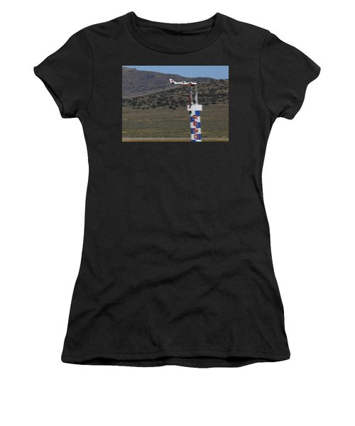 Women's T-Shirt featuring the photograph Vicky Benzing Crosses The Finish Thursday Morning by John King