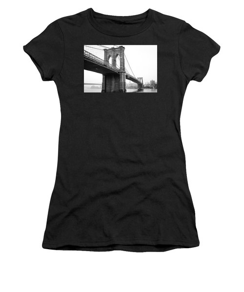 View Brooklyn Bridge With Foggy City In The Background Women's T-Shirt
