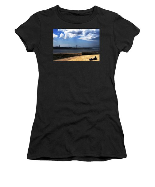 Women's T-Shirt (Junior Cut) featuring the photograph View From Across The Tagus by Lorraine Devon Wilke