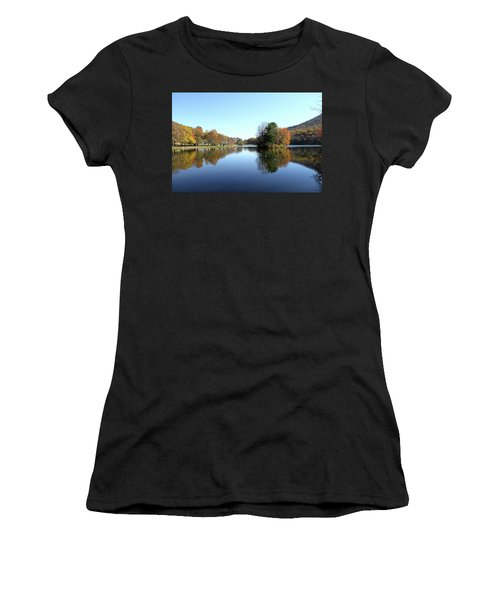 View Of Abbott Lake With Trees On Island, In Autumn Women's T-Shirt