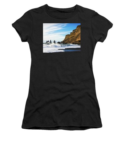 Women's T-Shirt (Athletic Fit) featuring the photograph Vik Reynisdrangar Beach And Ocean Iceland by Matthias Hauser