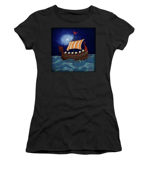 Women's T-Shirt (Athletic Fit) featuring the digital art Viking Ship by Megan Dirsa-DuBois