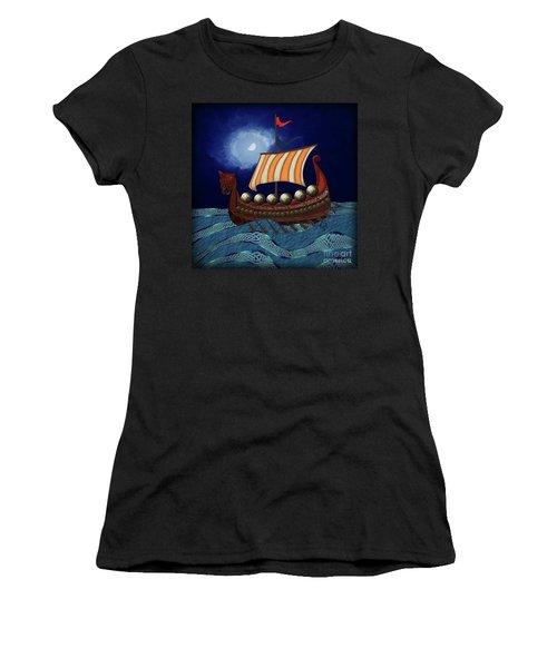 Women's T-Shirt (Athletic Fit) featuring the digital art Viking Ship by Megan Dirsa-DuBois