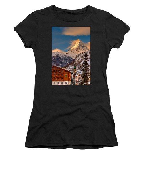 Village Of Zermatt With Matterhorn Women's T-Shirt (Athletic Fit)