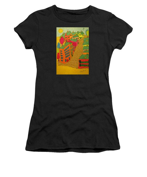 Village With Blue Sliver Moon Women's T-Shirt (Athletic Fit)