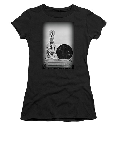 Vintage Bowling Sign Black And White Women's T-Shirt