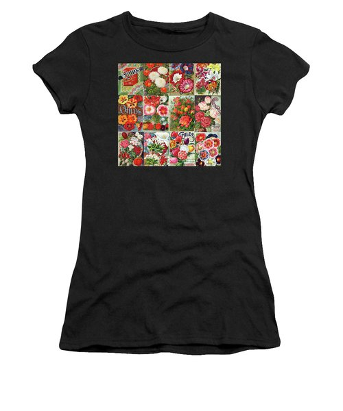 Vintage Childs Nursery Flower Seed Packets Mosaic  Women's T-Shirt