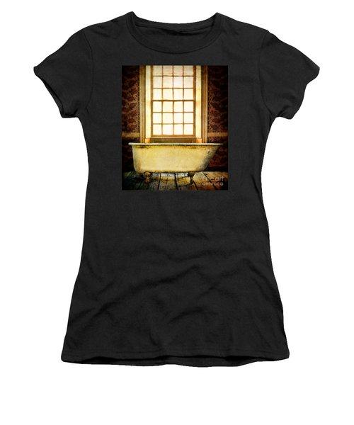 Vintage Clawfoot Bathtub By Window Women's T-Shirt (Junior Cut) by Jill Battaglia