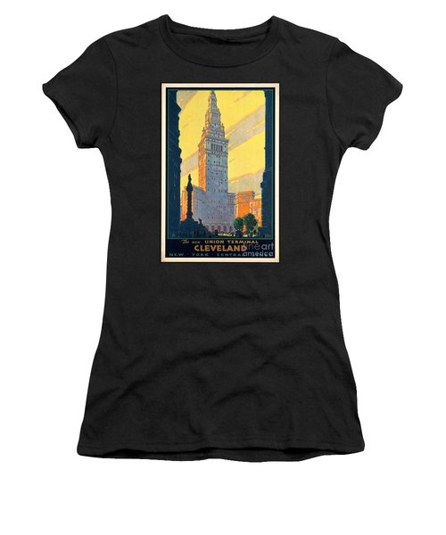 Vintage Cleveland Travel Poster Women's T-Shirt (Junior Cut) by George Pedro