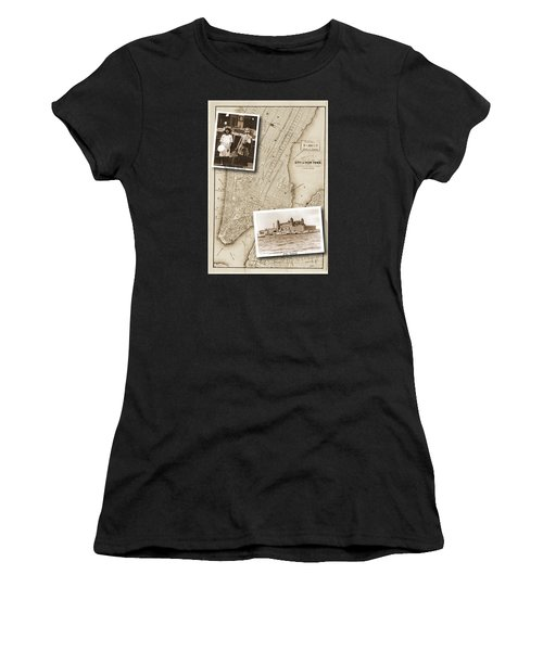 Vintage Map Ellis Island Immigrants Women's T-Shirt