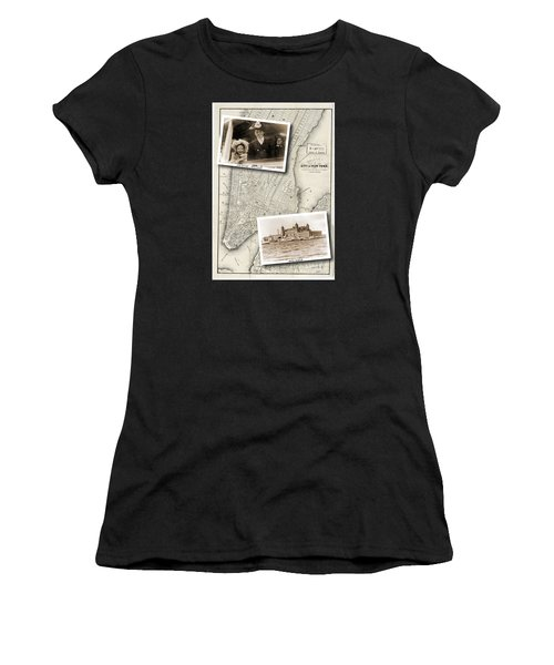 Vintage New York Map With Ellis Island Women's T-Shirt