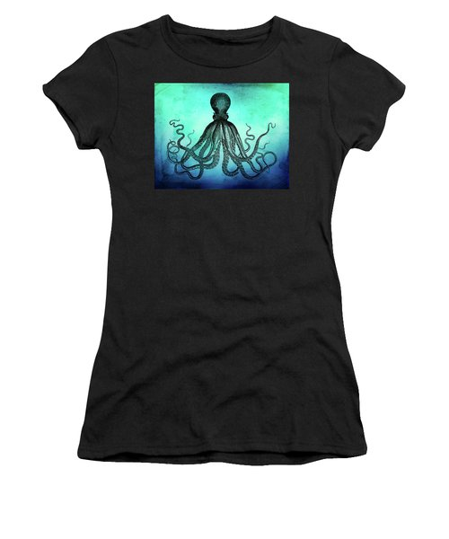 Vintage Octopus On Blue Green Watercolor Women's T-Shirt