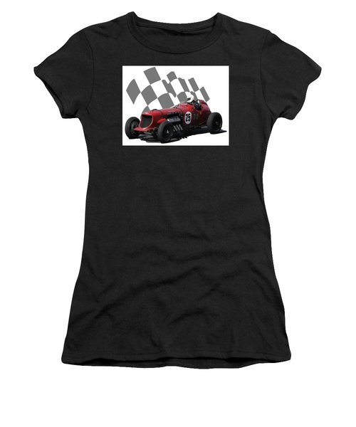 Vintage Racing Car And Flag 3 Women's T-Shirt (Athletic Fit)