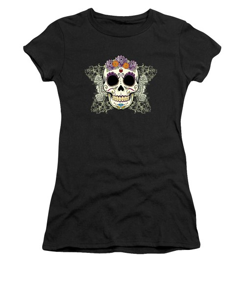 Vintage Sugar Skull And Flowers Women's T-Shirt (Athletic Fit)