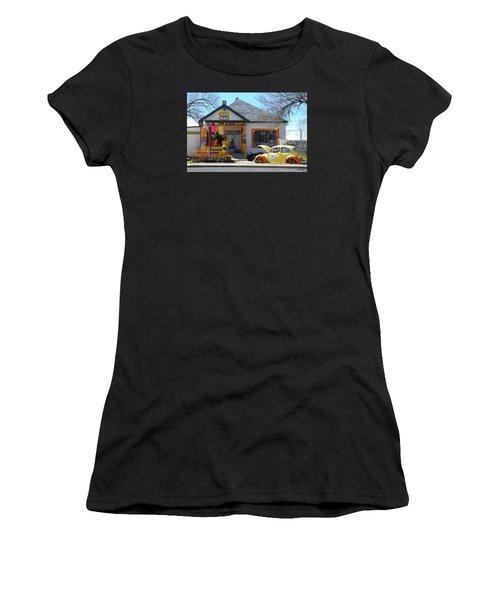 Vintage Vw Beetle At Seligman Antiques, Historic Route 66 Women's T-Shirt (Athletic Fit)