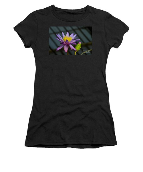 Violet And Yellow Water Lily Flower With Unopened Bud Women's T-Shirt