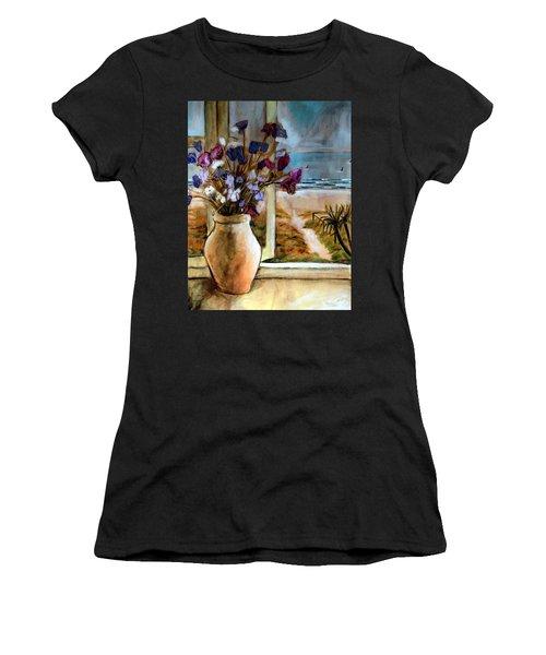 Violet Beach Flowers Women's T-Shirt (Athletic Fit)