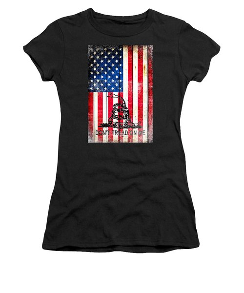 Viper On American Flag On Old Wood Planks Vertical Women's T-Shirt (Junior Cut) by M L C